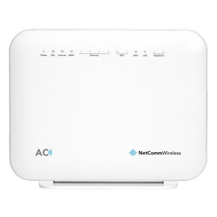 Netcomm NF18ACV ADSL/VDSL Wi-Fi Modem Router with VOIP, Dual-Band Wireless-AC1600, 4 x Gigabit LAN, 1 x Gigabit WAN, 1 x USB2.0, 2 x FXS Voice,