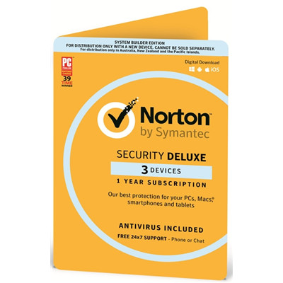 Symantec OEM NORTON SECURITY DELUXE 3.0 AU/NZ 3 DEVICE 12MO CARD DVDSLV ATTACH NSD System Builder 3D Attach Windows macOS Android iOS